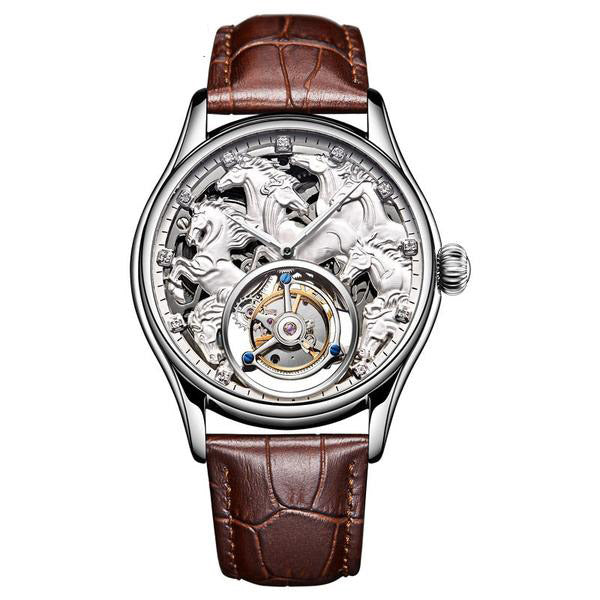 "White Gold ""Randolph"" Horse Luxury Watch in White Background - Horse Deco Store"