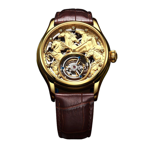 "Champagne Gold ""Randolph"" Horse Luxury Watch in White Background - Horse Deco Store"
