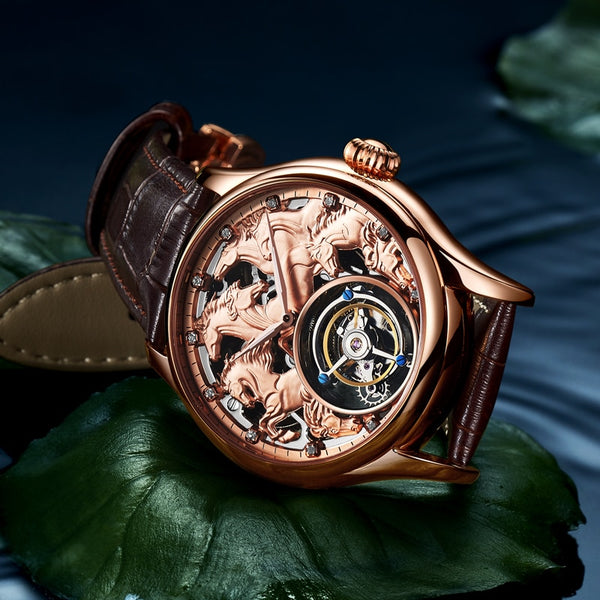 "Rose Gold ""Randolph"" Horse Luxury Watch in Blue Tissue Background - Horse Deco Store"