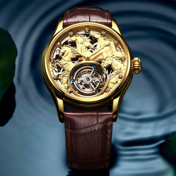 "Champagne Gold ""Randolph"" Horse Luxury Watch in Blue Tissue Background - Horse Deco Store"