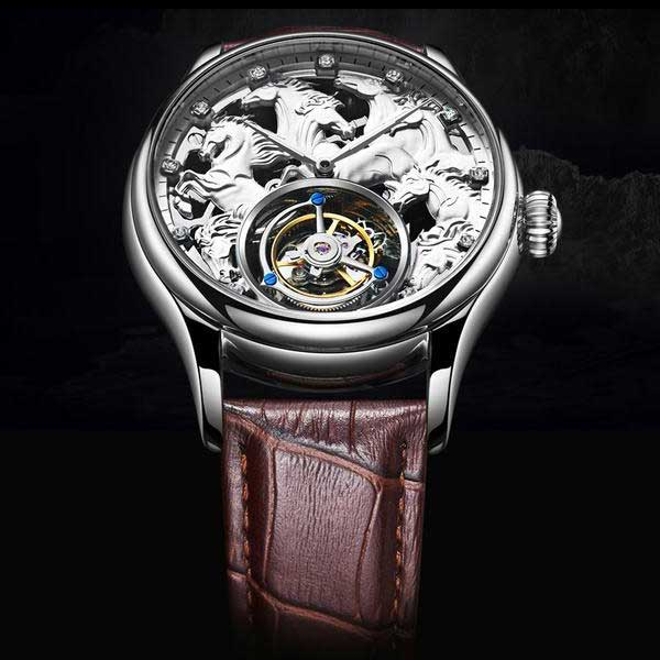 "White Gold ""Randolph"" Horse Luxury Watch in Black Background - Horse Deco Store"
