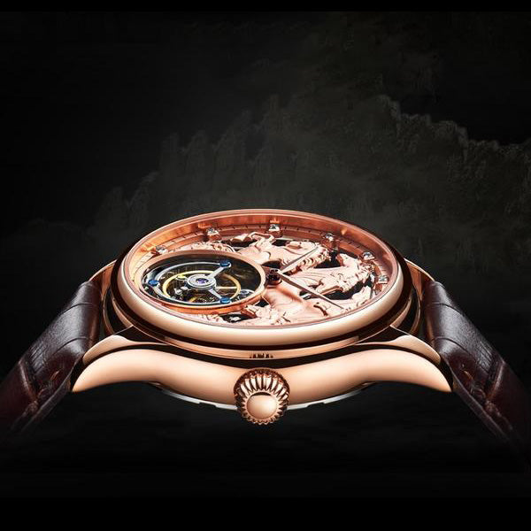 "Close up on Rose Gold ""Randolph"" Horse Luxury Watch in Black Background - Horse Deco Store"