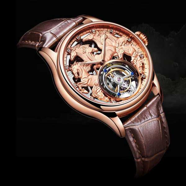 "Rose Gold ""Randolph"" Horse Luxury Watch in Black Background - Horse Deco Store"
