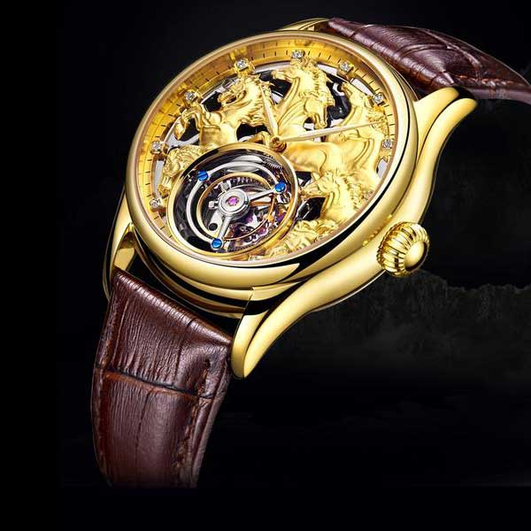 "Champagne Gold ""Randolph"" Horse Luxury Watch in Black Background - Horse Deco Store"