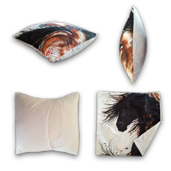 "Front, Side and Back of ""Magnificent"" Silky Horse Cushion Covers in White Background - Horse Deco Store"