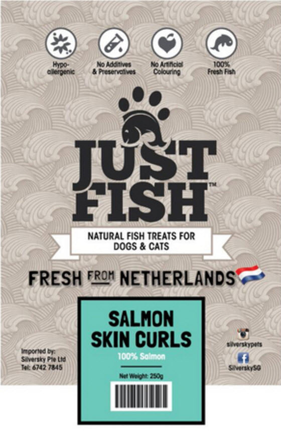 Just Fish Salmon Skin Curls Dog Cats Pet Treats
