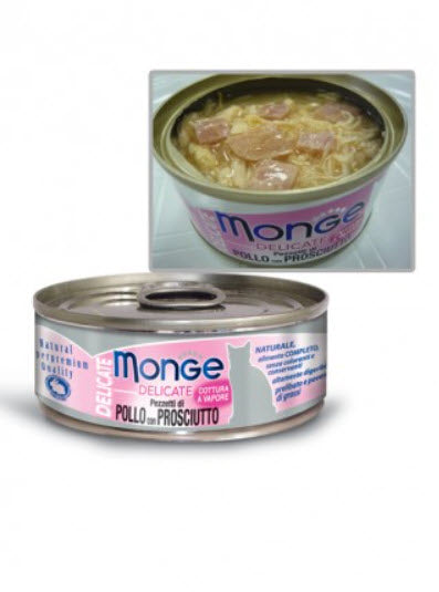 Monge Delicate Chicken with Ham Canned Food for Cats