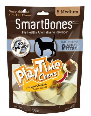 SmartBones PlayTime Peanut Butter Chews Medium Dog Chews