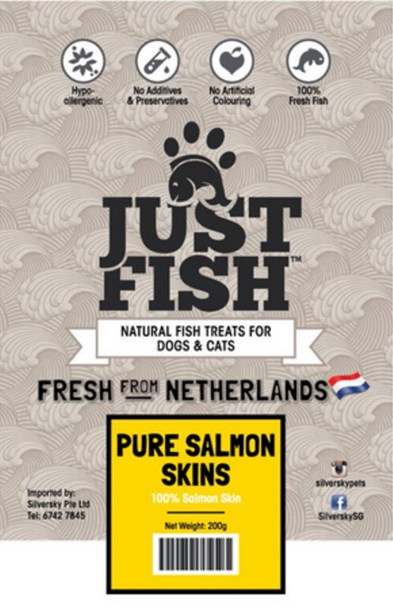 Just Fish Pure Salmon Skin Dog Cats Pet Treats