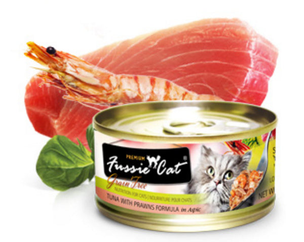 Fussie Cat Premium Tuna With Prawn Canned Cat Food