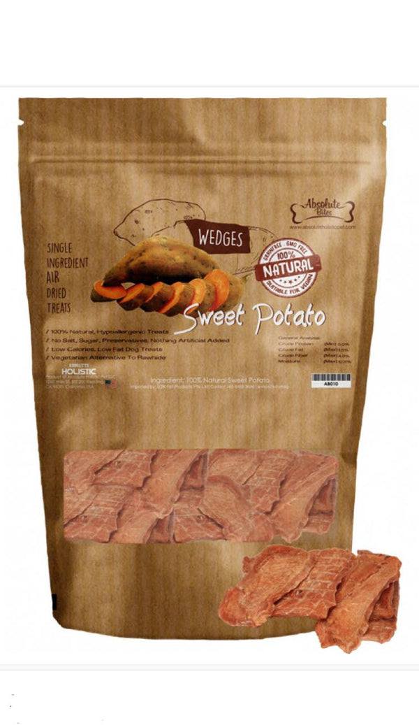 Absolute Bites Air Dried Sweet Potato Wedges Dog Treats