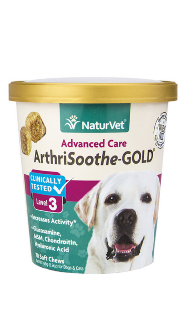 NaturVet Arthrisooth-GOLD Level 3 Soft Chew Cup for Dogs Cats