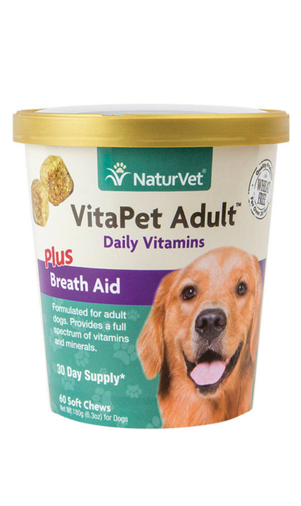 NaturVet VitaPet Adult Plus Breath Aid Soft Chew Cup for Dogs