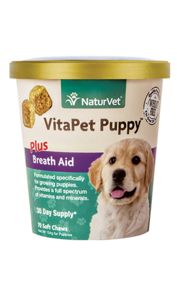 NaturVet VitaPet Puppy Plus Breath Aid Soft Chew Cup for Dogs