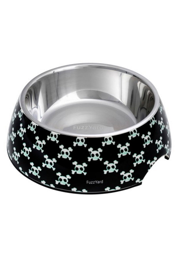 FuzzYard Easy (Bad to the Bone Black) Feeder Pet Bowls
