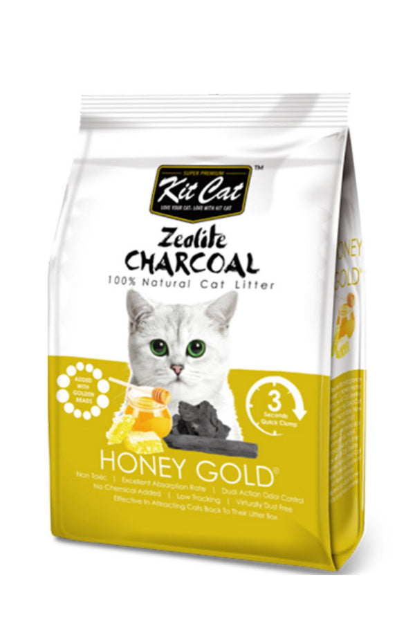 Kit Cat Zeolite Charcoal Honey Gold Cat Litter