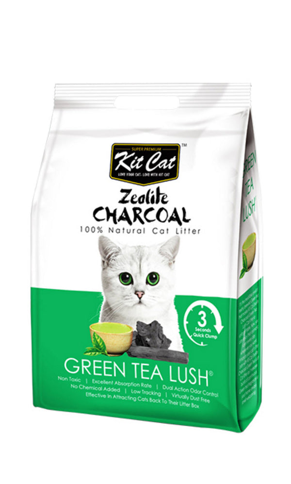 Kit Cat Zeolite Charcoal Green Tea Lush Cat Litter