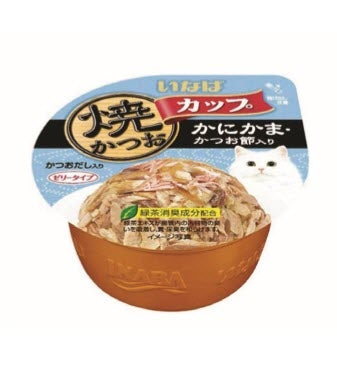 Ciao Grilled Skipjack Tuna in Gravy Topping Crab Stick and Dried Bonito Cup