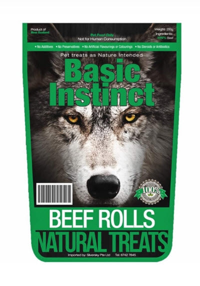 Basic Instinct Beef Rolls Natural Dog Treats
