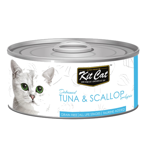 Kit Cat Deboned Tuna & Scallop Canned Cat Food Toppers
