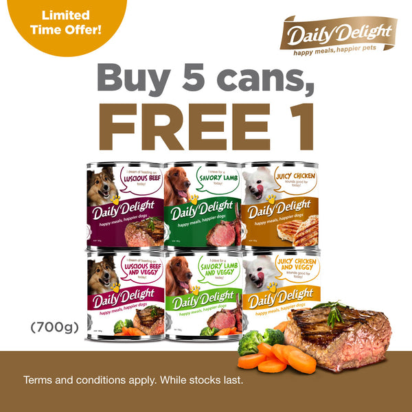 PROMO : Daily Delight Dog Canned Food (Buy 5 Get 1 Free)