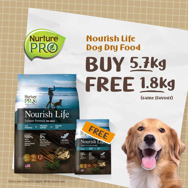 PROMO : FREE 1.8Kg Nurture Pro Nurish Life Dog Food With Purchase of 5.7Kg