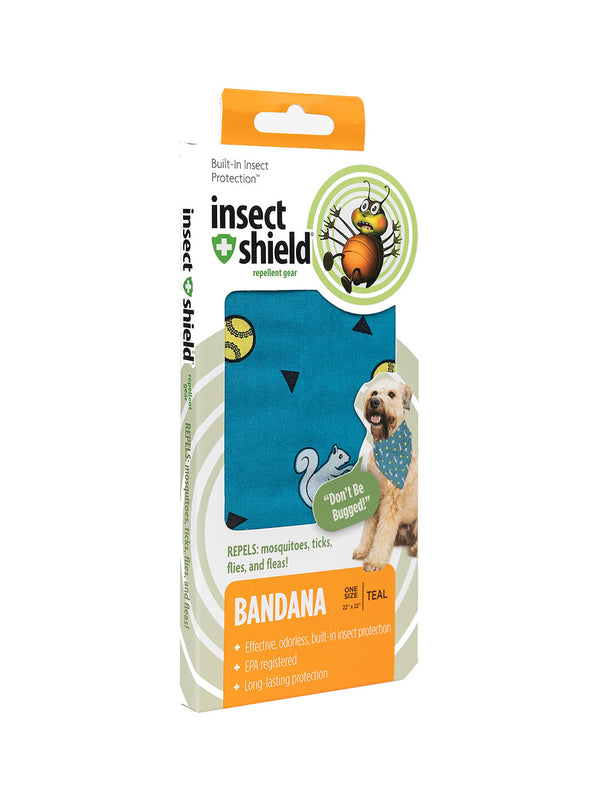 Insect Shield Ball & Squirrel Flea & Tick Repellent Bandana for Dogs (Teal)