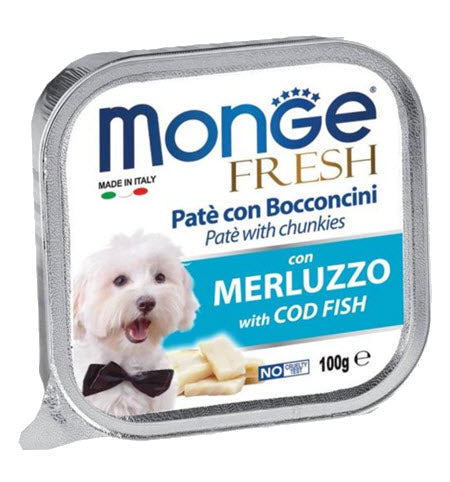 Monge Fresh Cod Fish Pâté with Chunkies Tray Dog Food