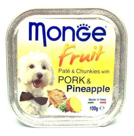 Monge Fruits Pork & Pineapple Pâté with Chunkies Tray Dog Food