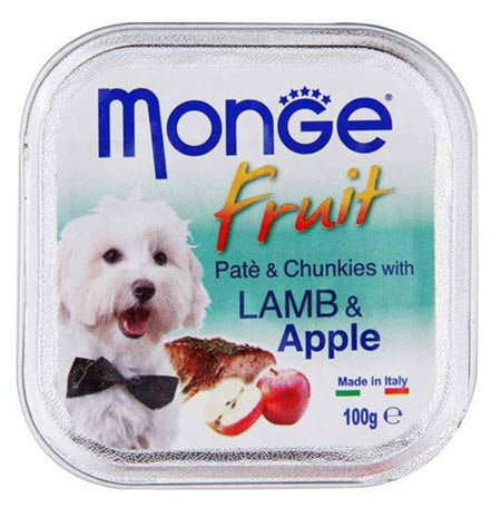 Monge Fruits Lamb & Apple Pâté with Chunkies Tray Dog Food