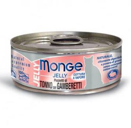 Monge Jelly Yellowfin Tuna with Shrimps Canned Food for Cats