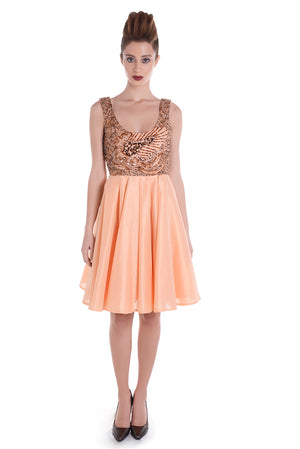 00129 SPACE VIP orange dress