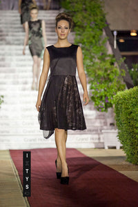 ILLUMINATED HEARTS black knitted lace dress with Aline skirt