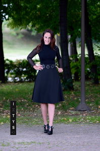 SOLAR FLOWER black flared skirt