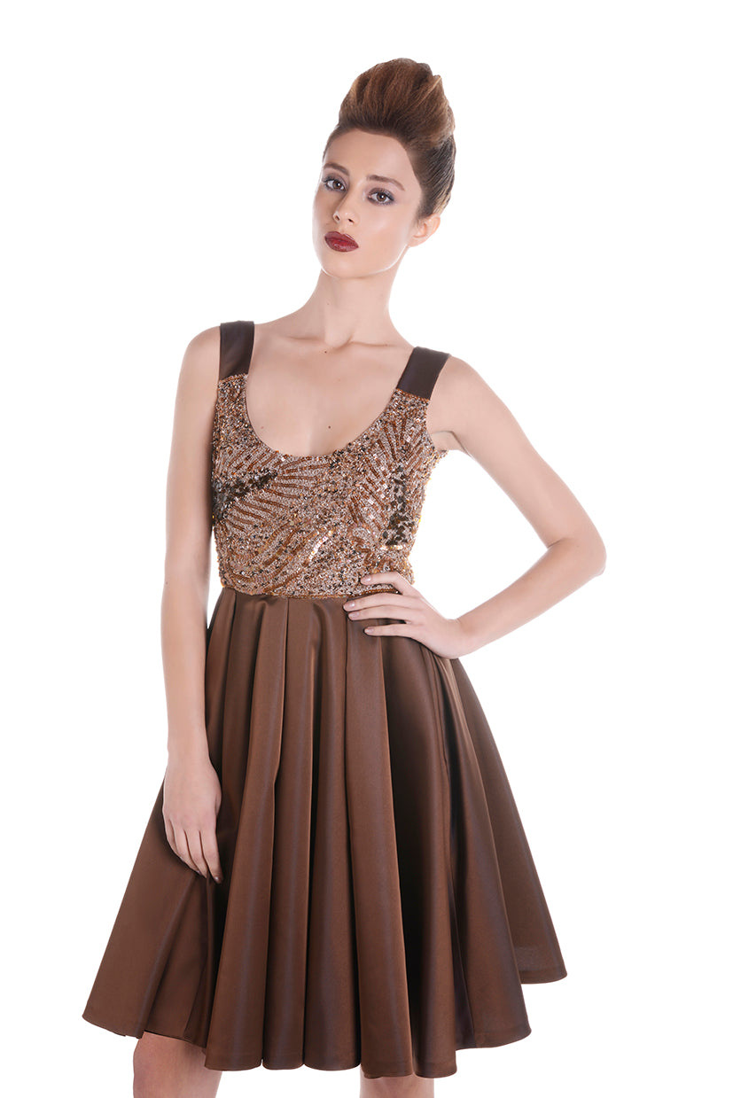 00127 SPACE VIP brown dress
