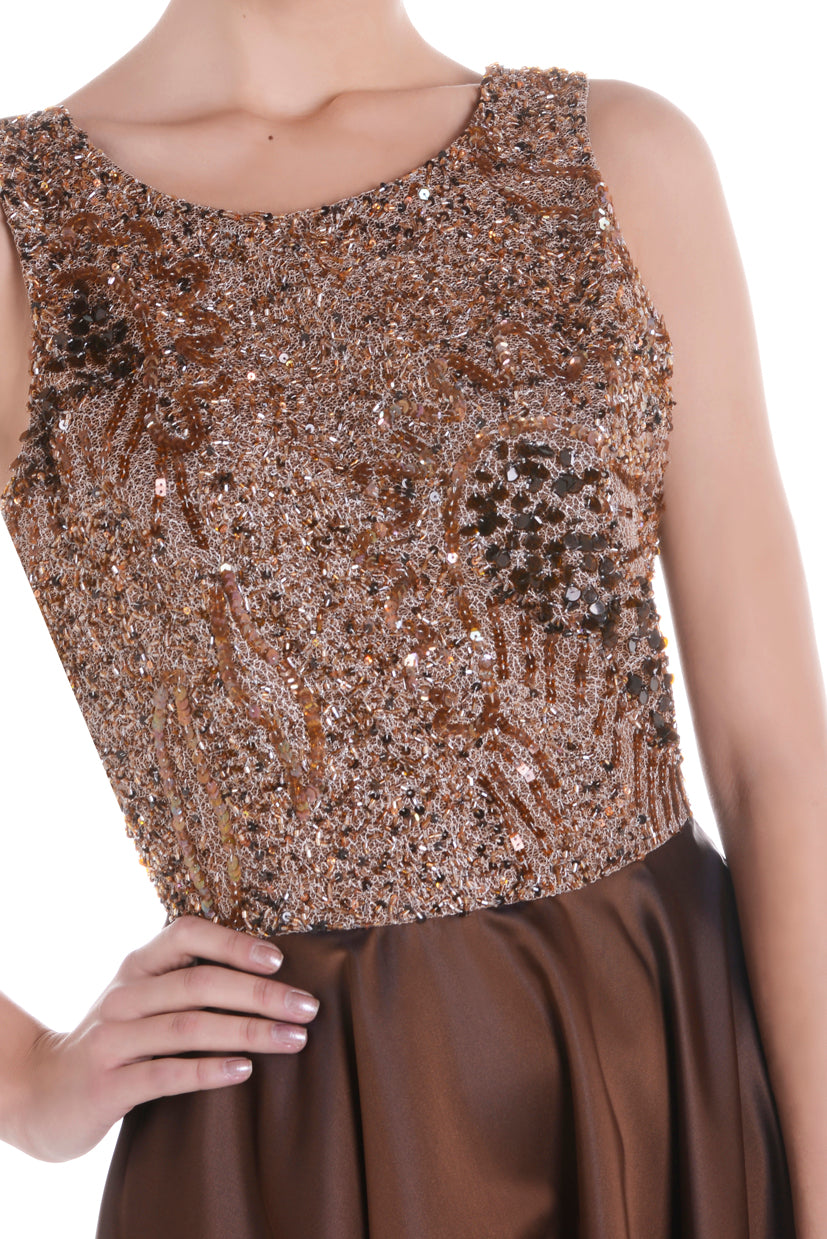 SPACE VIP low back brown dress