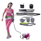 Multifunction Elastic Nylon Belt Running Dog Leash Padded Waist
