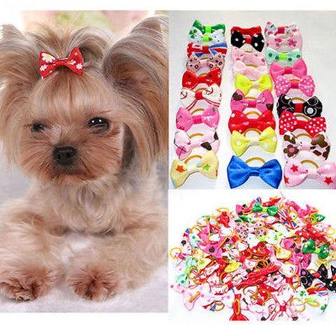 10PCS Dog Rubber Band Ribbon Hair Bow