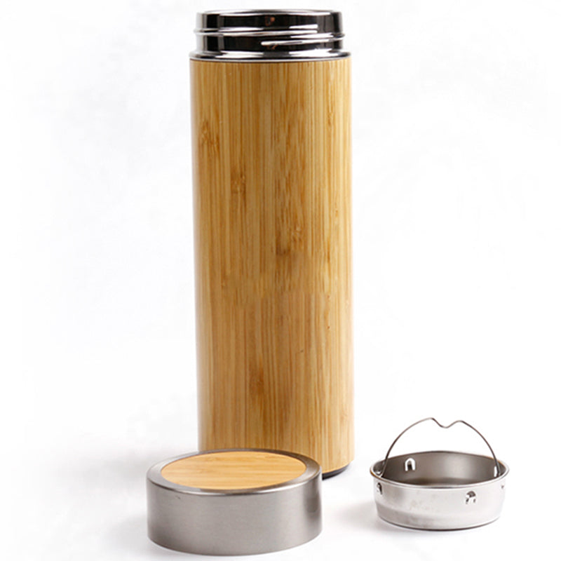ENGRAVED BAMBOO THERMOS FLASK