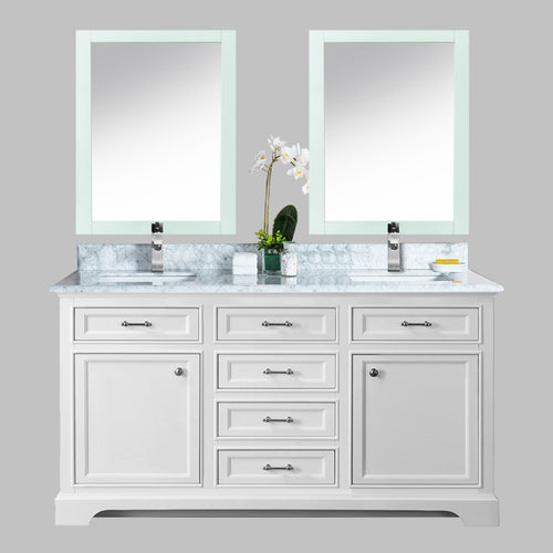 60″ Milan Bathroom Vanity – White with Carrera Top
