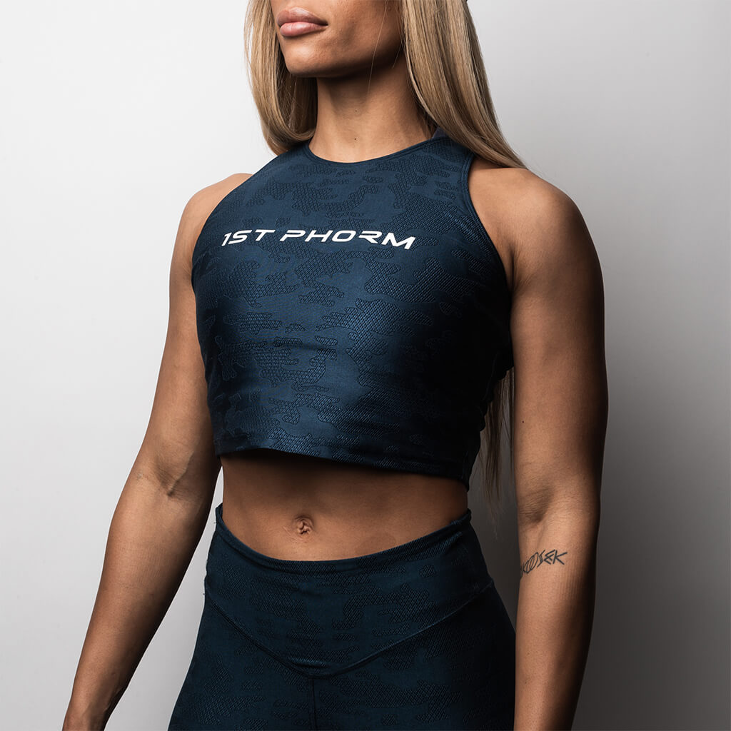 Women's Ignite Camo Jacquard Crop / Sports Bra - Navy