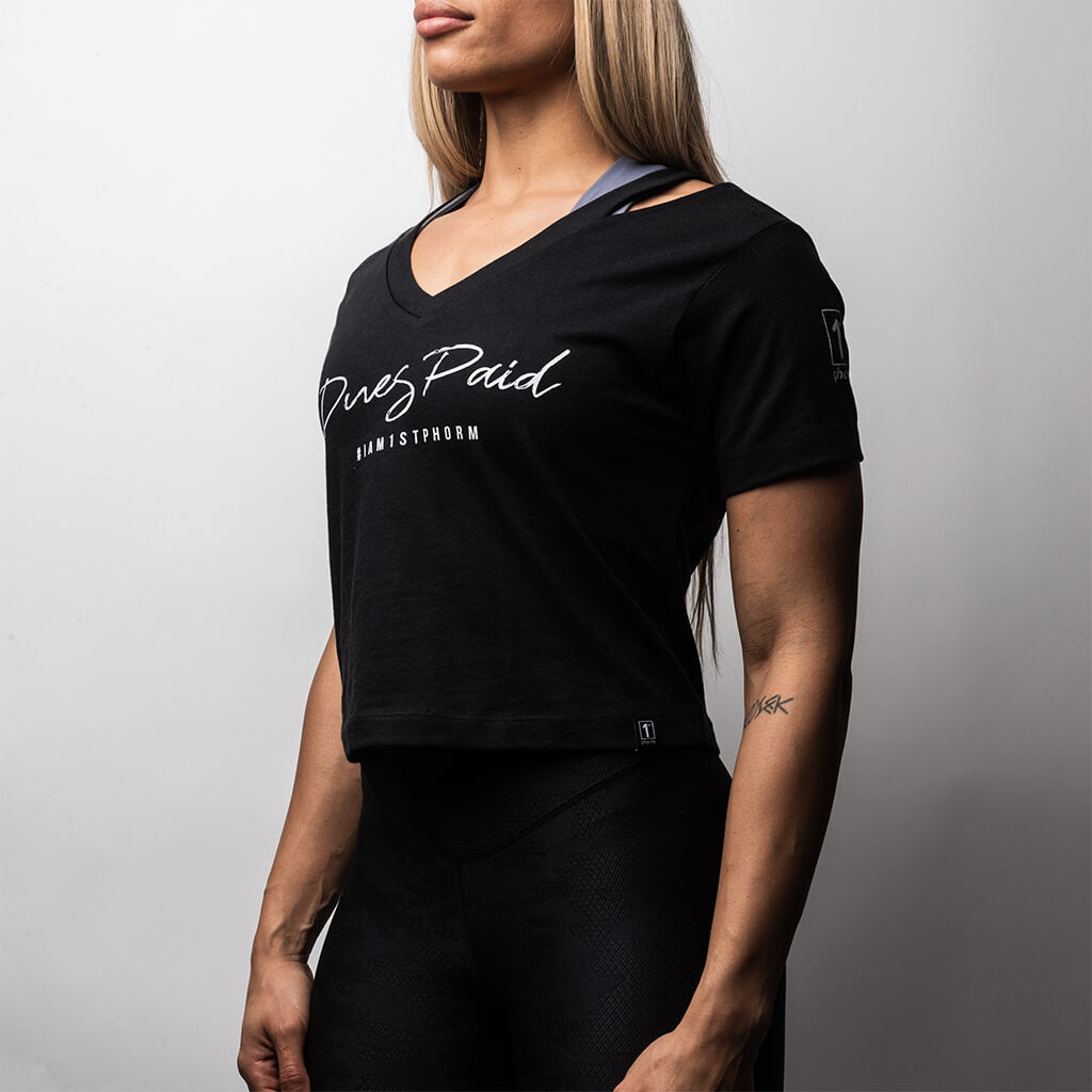 Women's Dues Paid Shoulder Cut Out Tee