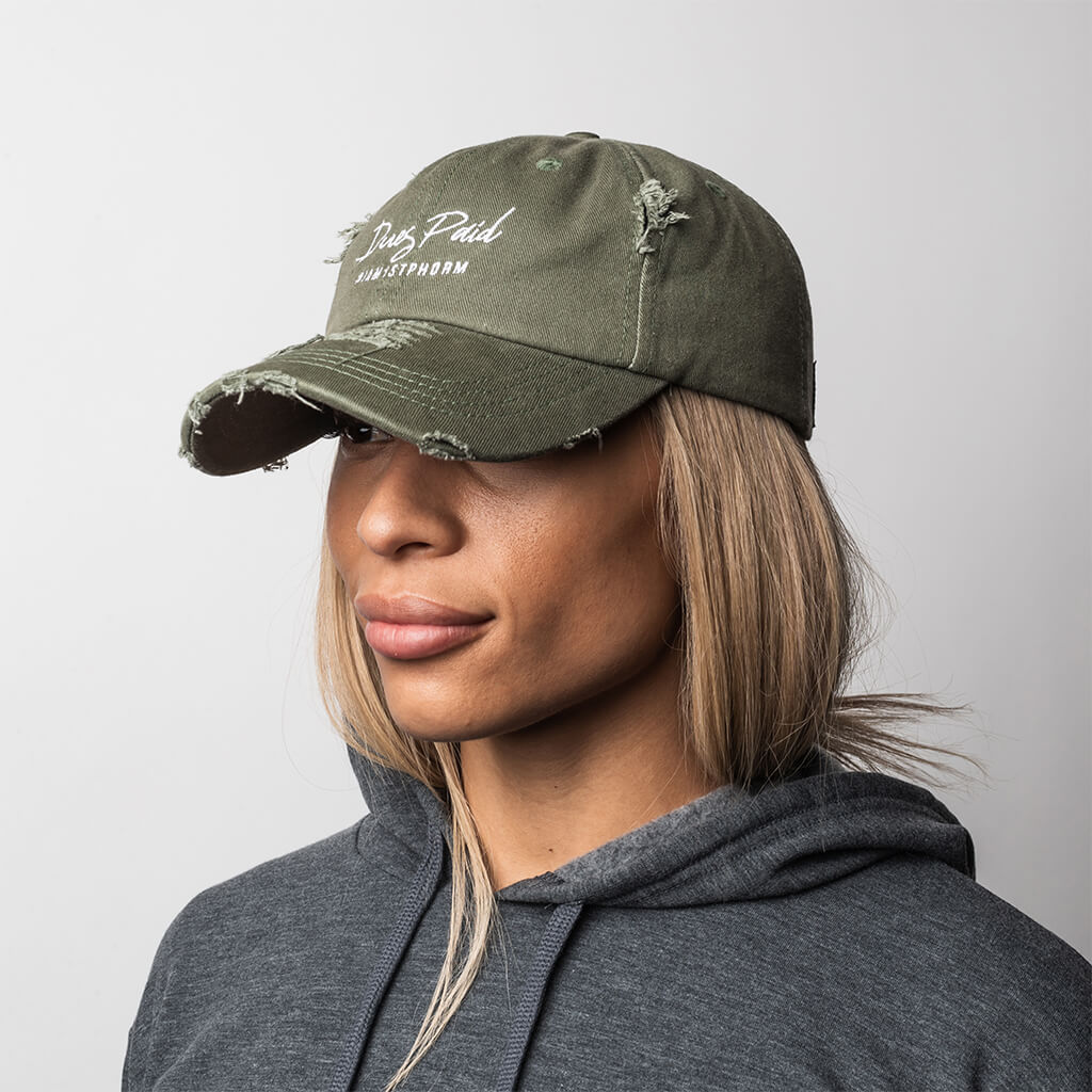 "Women's Distressed Dues Paid ""Dad"" Hat - Olive"