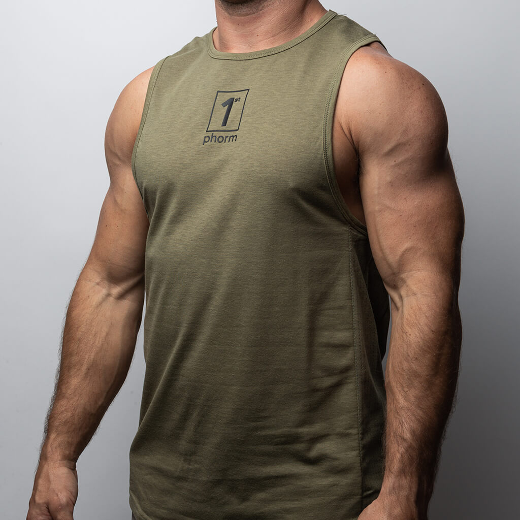 Men's 1P Vented Muscle Tank - Army