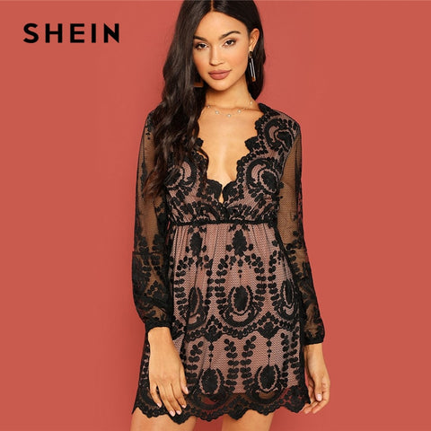 SHEIN Black Party Embroidered Mesh Plunging Neck Bishop Sleeve High Waist Dress  2018 Autumn Sexy Women 24a376b75071