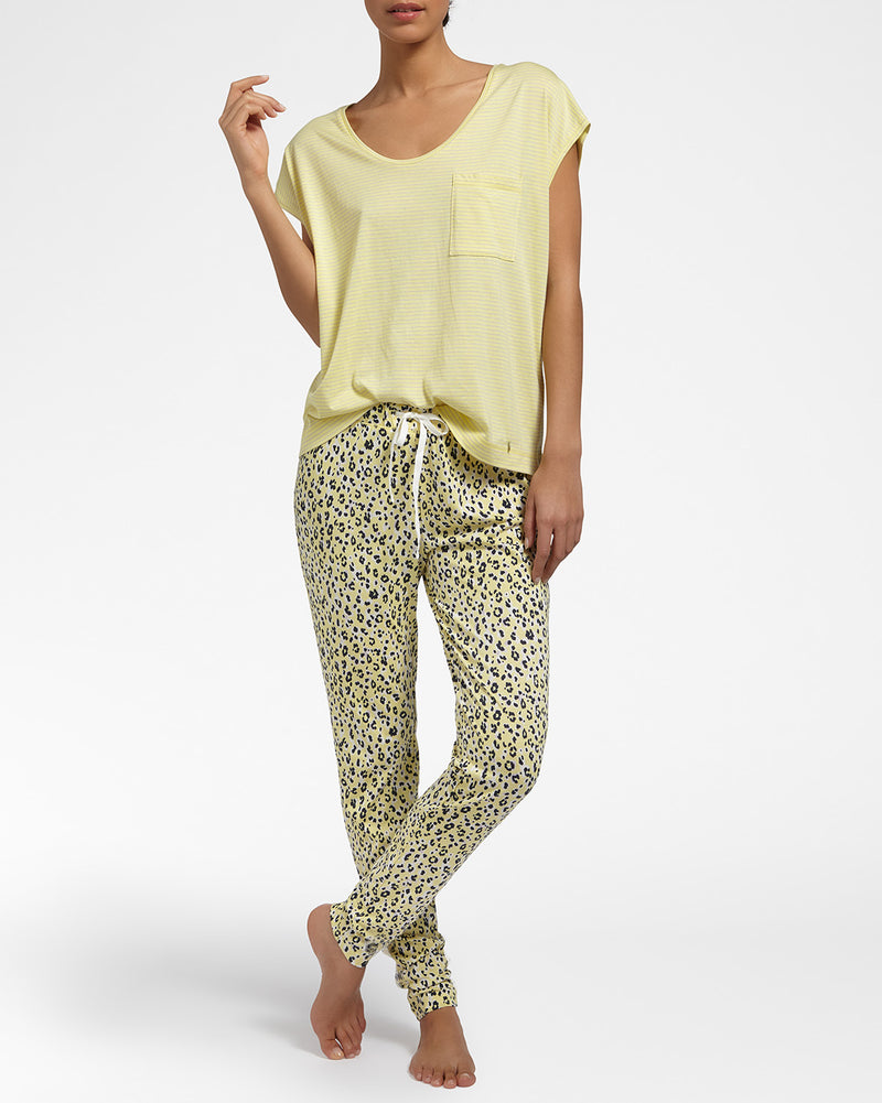 Pinstripe Yellow Top Met Korte Mouwen