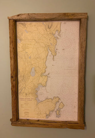 Map of Camden, Rockport and Rockland - Driftwood Frame