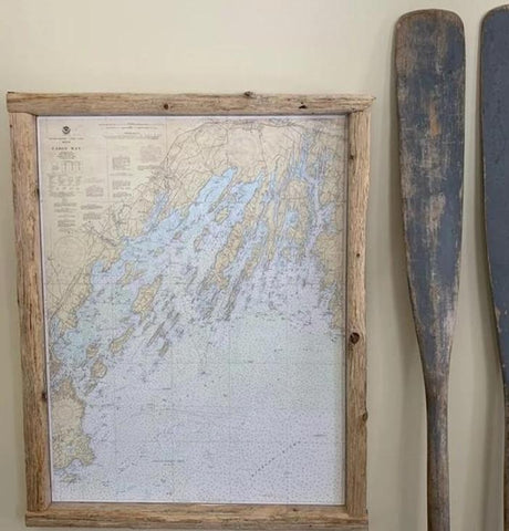Casco Bay Nautical Chart in Driftwood Frame