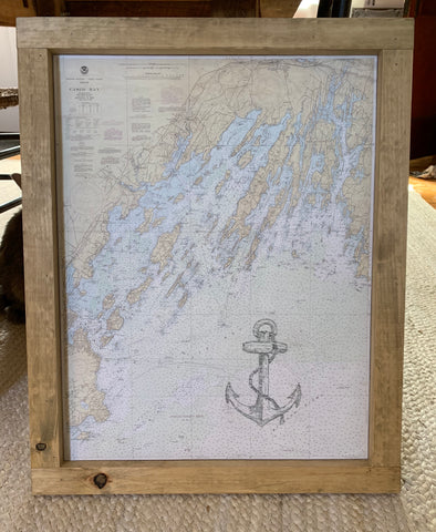 Casco Bay Chart with Anchor - Pine Frame
