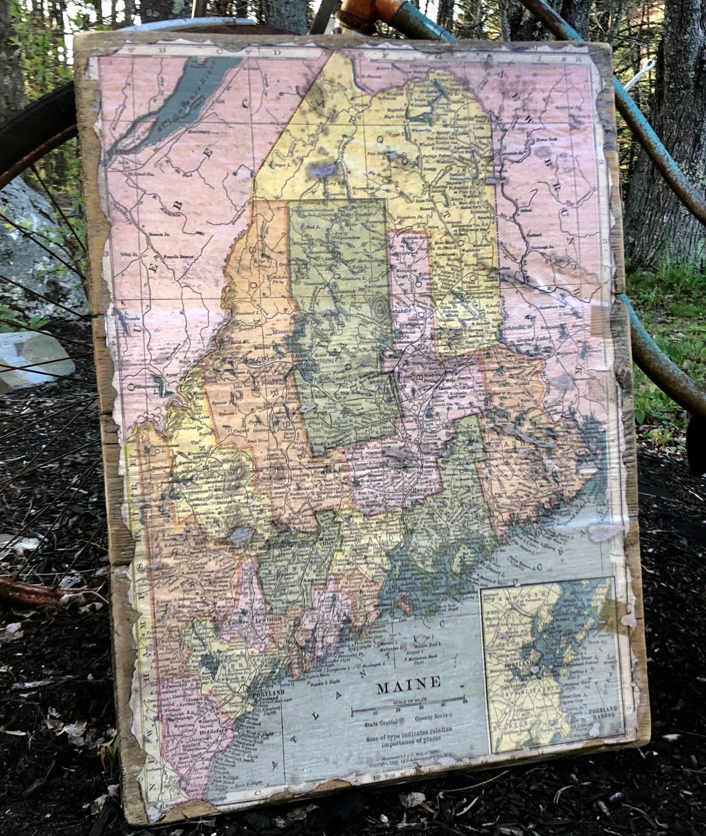 Maine Map on Barnwood